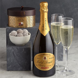 Gold Box with champagne, two flutes and champagne truffles
