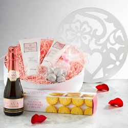 Carved Giftbox with Prosecco, Truffles, Biscuits and Lotions