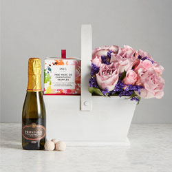 Trug with Prosecco Rose posy and Truffles