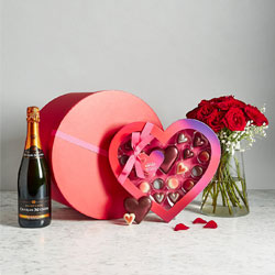 Red Hat box with Champagne, roses and chocolates
