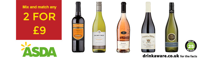 Asda 2 for £9 Wines